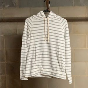 J. Crew Gray and White Striped Hoodie